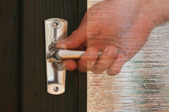 Silver door handle Royalty Free Stock Image