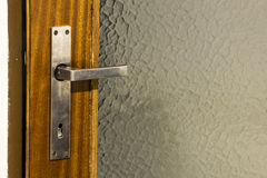 Silver door handle Stock Photo