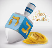Silver Dreidel with Golden Gelts, Vector Illustration Royalty Free Stock Image