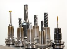 Silver Drill Bits Set Royalty Free Stock Image