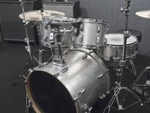 Silver Drum Kit Stock Image