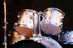 Silver drum set on concert stage Stock Image