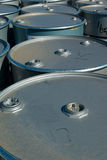 Silver Drums. 44 Gallon Drums on a Pallet Stock Photography