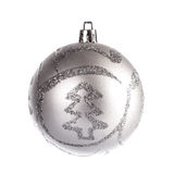 Silver dull christmas ball Royalty Free Stock Image