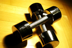 Silver dumbbell Stock Photos