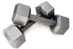 Silver Dumbbell Weights Stock Photography