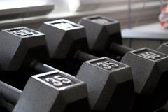 Silver dumbbell weights on rack. 35 and 40 pounds Stock Image