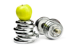 Silver dumbbells Royalty Free Stock Photo