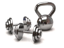 Silver dumbbells Stock Photo
