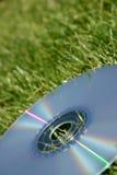 Silver DVD on green grass Royalty Free Stock Photos