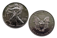 Silver Eagle. Isolated 2011 Silver Eagle - obverse and reverse royalty free stock photography