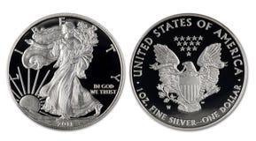 Silver Eagle Dollar. Royalty Free Stock Photos
