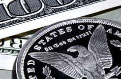 Silver eagle in god we trust Royalty Free Stock Image
