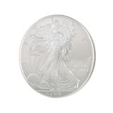 2013 Silver Eagle Obverse. Front of a 2013 Silver Eagle Dollar Coin Royalty Free Stock Photos