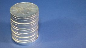 Silver Eagle, Stack of Bullion Coins stock video