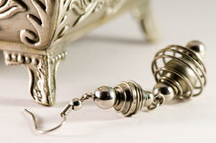 Silver ear rings Royalty Free Stock Photo
