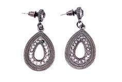 Silver earings Stock Image