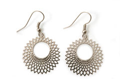 Silver earrings Royalty Free Stock Photo