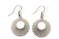 Silver earrings Royalty Free Stock Photo