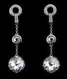 Silver earrings with diamonds Stock Photography
