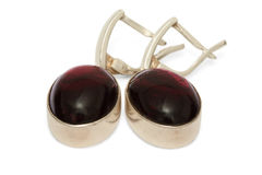 Silver Earrings with Garnet isolated Royalty Free Stock Photo