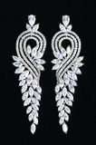 Silver earrings with jewels Stock Images