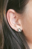 Silver earrings with pearls and marcasite. Silver earrings with marcasite and pearls stock photography