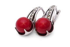 Silver Earrings with Red Coral isolated Stock Photography