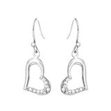 Silver earrings in the shape of heart Stock Image