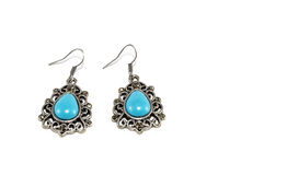 Silver Earrings with Turquoise Beads Stock Image
