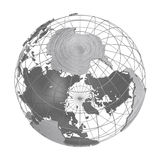 Silver Earth planet 3D globe isolated. Stainless steel iron global world. Accurate geographic grid wire framework. Fine brushed metallic texture. PNG with Stock Images