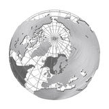 Silver Earth planet 3D globe isolated. Stainless steel iron global world. Accurate geographic grid wire framework. Fine brushed metallic texture. PNG with Royalty Free Stock Photo