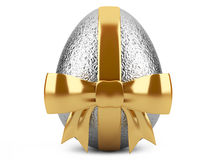 Silver easter egg with red ribbon Stock Image