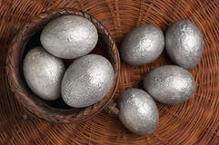 Silver Easter eggs Stock Images