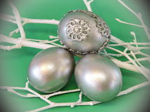 Silver Easter eggs stock photography