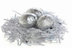 Silver eggs on a nest Royalty Free Stock Photos