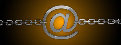 Silver email symbol with chain Stock Image