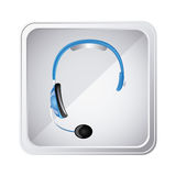 silver emblem headphone service icon Royalty Free Stock Images
