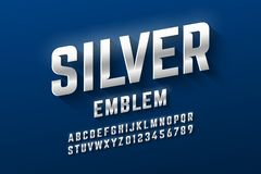 Silver emblem style font, metallic alphabet. Letters and numbers vector illustration