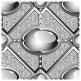Silver emboss bar with grey glossy gems Royalty Free Stock Images
