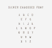 Silver embossed alphabet isolated, 3d illustration. Argent typing font design. Beveled symbols embossing on plastic card. Hammering chamfer type letters text Royalty Free Stock Photography