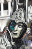 Silver and emerald mask at the Carnival of Venice Stock Images