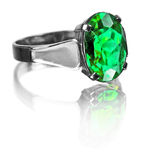 Silver emerald ring Royalty Free Stock Photography