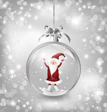 Silver of empty snowglobe with Santa Claus Stock Image