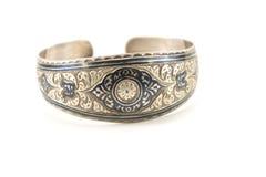 Silver enfraved bracelet Royalty Free Stock Photography