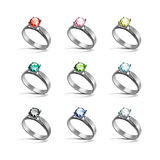 Silver Engagement Rings Red Pink Blue Green Black White Diamonds Royalty Free Stock Photography