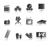Silver Entertainment Icons. Entertainment icons for media, cinema, movie, film Royalty Free Stock Photography