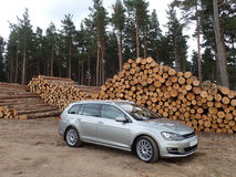 Silver estate car in pine tree forest with big pile of logs. Silver estate, variant, station wagon, car parked by a big pile of logs in a pine forest. Location royalty free stock photo