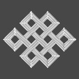 Silver eternal knot charm symbol. Luxury silver endless knot (Eternal knot) is a cultural symbol across Buddhism, Tibet and Chinese Art with the Meaning of Karma Royalty Free Stock Photography