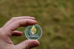 Silver Ethereum coin Royalty Free Stock Image